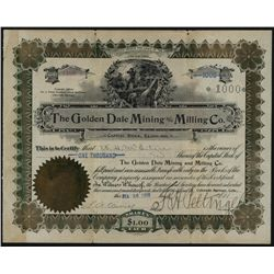 Golden Dale Mining & Milling Co., Issued Stock.