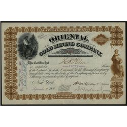Oriental Gold Mining Co., Issued Stock.