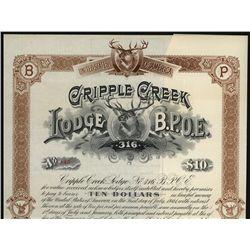 Cripple Creek Lodge B.P.O.E. 316, Unissued Bond.