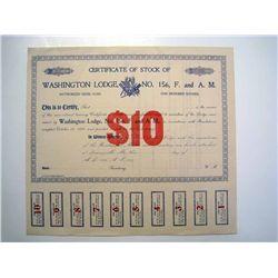 Washington Lodge No.156, F. and A. M, Unissued Stock.