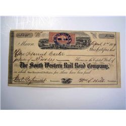 South Western Rail Road Co., Issued Stock.