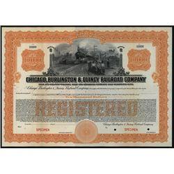 Chicago, Burlington & Quincy Railroad Co., Specimen Bond.