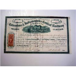 Columbus & Indianapolis Central Railway Co., Issued Stock.