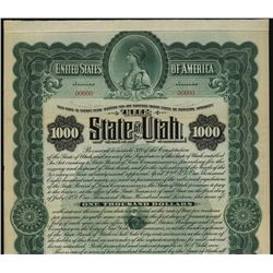 State of Utah Specimen Bond.