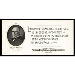 Western Banknote Company Advertising Card With McKinley Portrait.