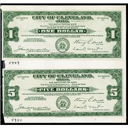 City of Cleveland 1934 Depression Scrip Proof Pair.