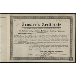 Kansas City, Mexico & Orient Railroad Co., Trustee's Certificate.
