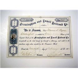 Framingham and Lowell Railroad Co., Issued Stock.