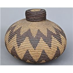 Native American Indian Old Woven Basket, woven lid. [Height/Lengt…