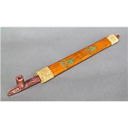 Native American Indian Peace Pipe with Minnesota Pipestone, leath…