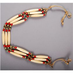 Native American Indian c. 1950, Choaker (Bone, Bronze Balls, Red …