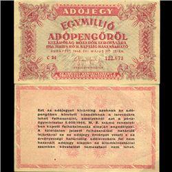 1946 Hungary 1MM Pengo Tax Note Hi Grade Scarce (CUR-06121)