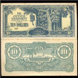1942 Malaysia $10 Japan Occupation Crisp Unc Note (COI-3806)