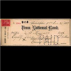 1899 Penn National Bank Check (COI-3262)