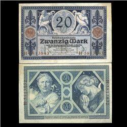 1915 Germany 20 Mark Note Hi Grade Very Rare (CUR-05660)