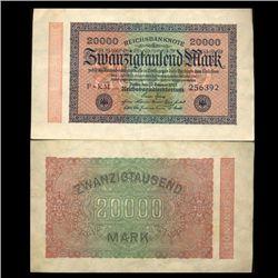 1923 Germany 20000 Mark Note Hi Grade Rare (CUR-05673)
