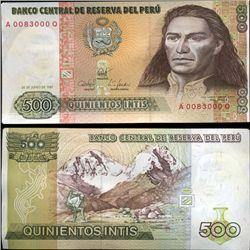 1987 Peru 500 Intis Crisp Uncirculated Note (CUR-05611)