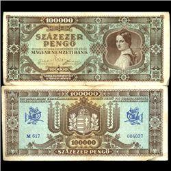 1945 Hungary 100000 Pengo Note Hi Grade (COI-3902)
