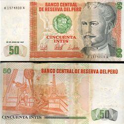 1987 Peru 50 Intis Crisp Uncirculated Note (CUR-05609)