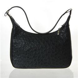 Ladies Black Ostrich Hide Skin Handbag  (ACT-022)