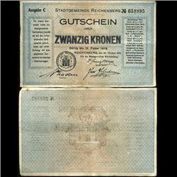 1919 Austria 20k Reichenberg Note Hi Grade RARE (COI-3943)