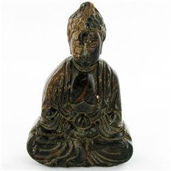 300ct Handcarved Black Jade Buddha Pendant (CLB-1071)