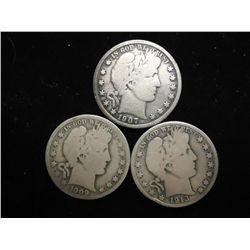 1907-D,09-O & 13-D BARBER HALF DOLLARS