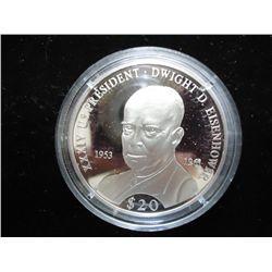 2000 LIBERIA $20 SILVER PROOF PRESIDENT EISENHOWER