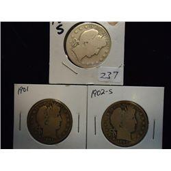 1894-S,1901 & 02-S BARBER HALF DOLLARS