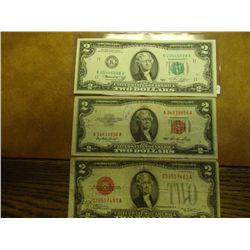 1928-D,53 & 76 US $2 BILLS RED & GREEN SEALS
