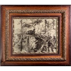 """Central Pacific Railroad Magnificent Framed Ink Drawing CA - 2012aug - """"Railroadiana"""""""