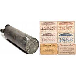 """Central Pacific Railroad Telegraph Insulator and Telegrams CA - c1867 - 2012aug - """"Railroadiana"""""""