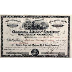 "Sierra Iron and Quincy Railroad Company Stock CA - San Francisco,1883 - 2012aug - ""Railroadiana"""