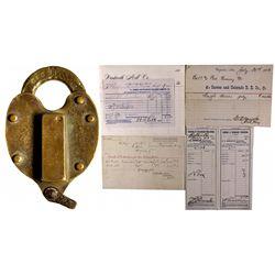 """Carson & Colorado Railroad Lock and Documents NV - Carson City, - c1877-1892 - 2012aug - """"Railroadia"""