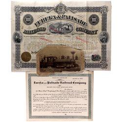 "Eureka & Palisade Railroad Stock Certificate NV - Eureka,1876 - 2012aug - ""Railroadiana"""