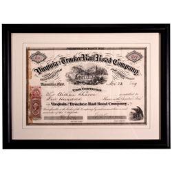 "Virginia & Truckee Railroad Stock Certificate NV - Virginia City,Storey County - 1869 - 2012aug - ""R"