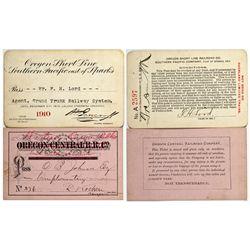 """Oregon Railroad Emphemera OR - 1879, 1910 - 2012aug - """"Railroadiana"""""""
