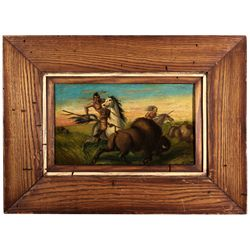 Old Western American Indian Buffalo Hunt Painting CA - San Francisco, - 1867 - 2012aug - Cowboy & Na
