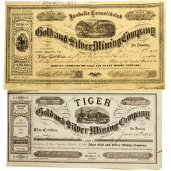 Bodie Stock Certificates CA - Bodie,Mono County - 1879, 1880 - 2012aug - General Americana