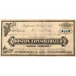 Boston Consolidated Mining Company Stock CA - Bodie,Mono County - 1879 - 2012aug - General Americana