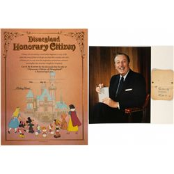 Disney Gift Card & Photo with Walt Disney Signature CA - Burbank,Los Angeles County - c1930-1940 - 2