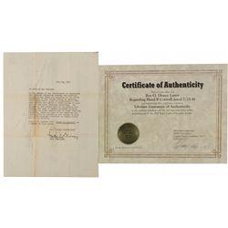 Disney, Roy O. Signed Letter CA - Burbank,Los Angeles County - 1941 - 2012aug - General Americana