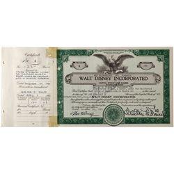 Walt Disney Incorporated Stock Certificate CA - Burbank,Los Angeles County - 1955 - 2012aug - Genera
