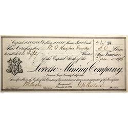 Loretto Mining Co. Stock CA - Inyo County,1876 - 2012aug - General Americana