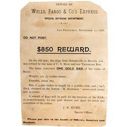 Well-Fargo Stage Reward Notice CA - Nevada City,1888 - 2012aug - General Americana
