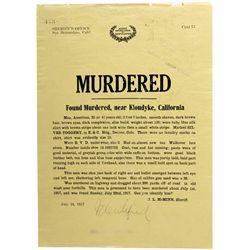 Klondyke Murder Notice CA - San Bernardino, - 1917 - 2012aug - General Americana