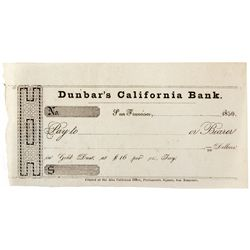 California Bank Unissued Check CA - San Francisco,c1850 - 2012aug - General Americana