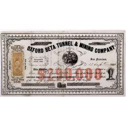 Oxford Beta Mine Stock Certificate CA - Silver Hill,Mono County - 1863 - 2012aug - General Americana