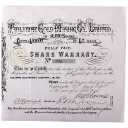 Tuolumne Gold Mining Co. Limited Stock Certificate CA - Tuolumne County,1870 - 2012aug - General Ame