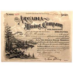 Arcadia Mining Company Stock Cert. CO - 1897 - 2012aug - General Americana